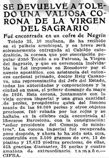 Noticia de la devolución de la corona de la Virgen del Sagrario. ABC 26 marzo 1940