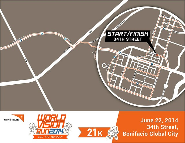 World Vision Run 2014 21k race map