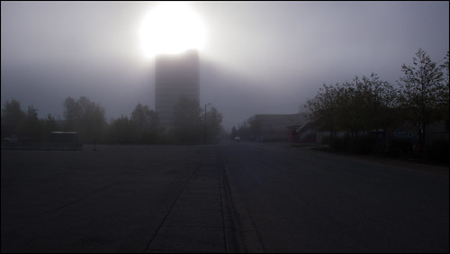 denali tower in fog