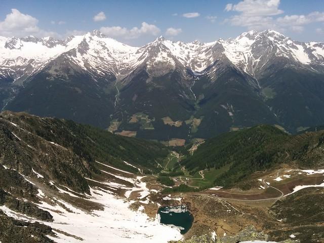 Ausblick auf den Klaussee vom Gipfel des Rauchkofel