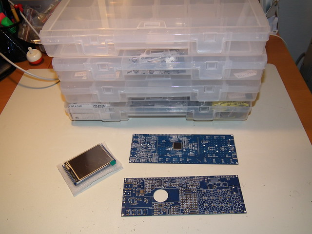 mcHF PCBs and parts organized