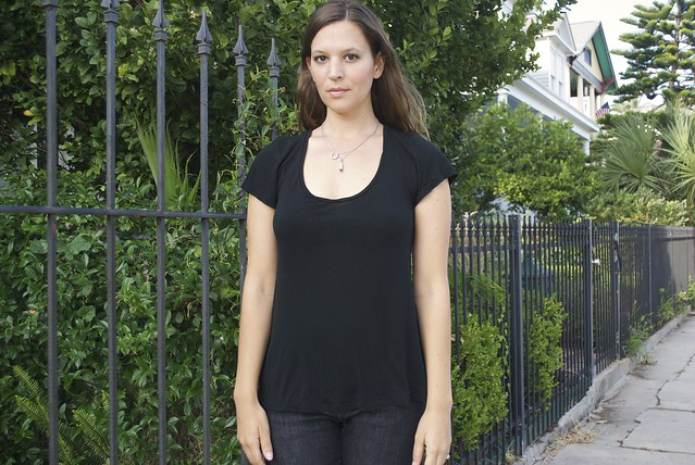 Mood Fabrics Black viscose jersey tee