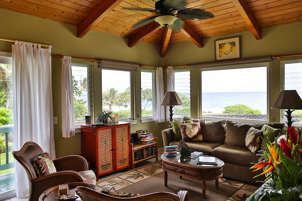 The Living Room - Hana Oceanfront Cottage
