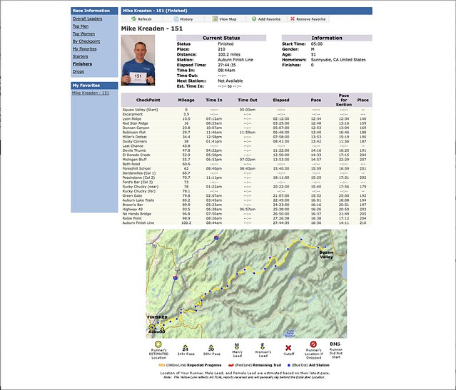 Mike Kreaden 2014 WSER Course Times