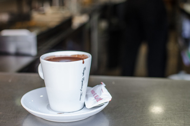 A delicious cup of drinking chocolate from a cafe in Sevilla, Andalucia.