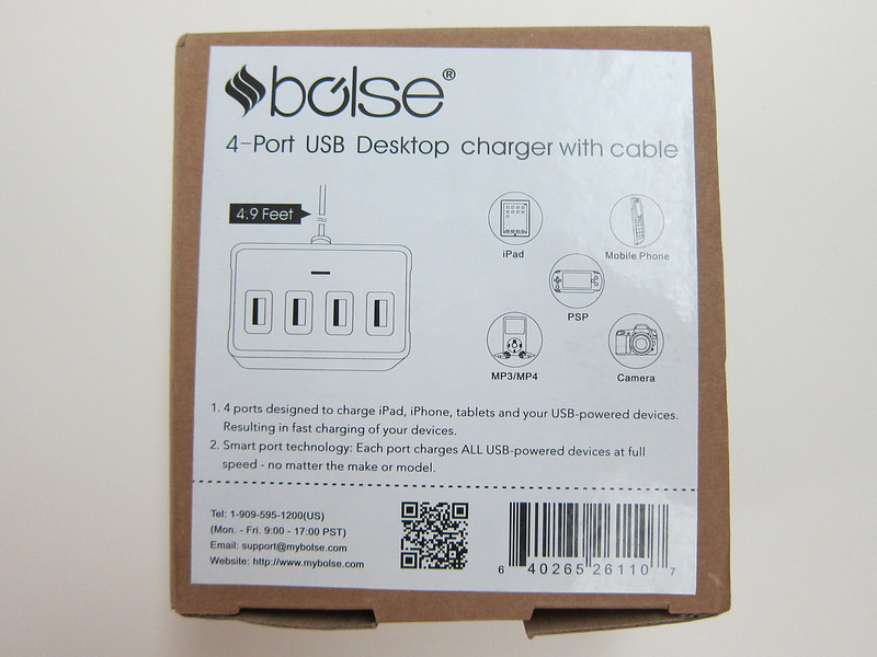 Bolse 25W (5V/5A) 4-Port USB Wall/Desktop Charger - Box