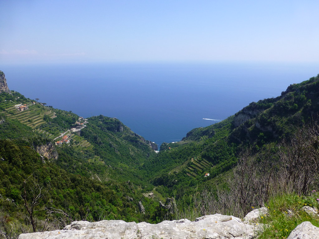 View of the Amalfi coast from high above