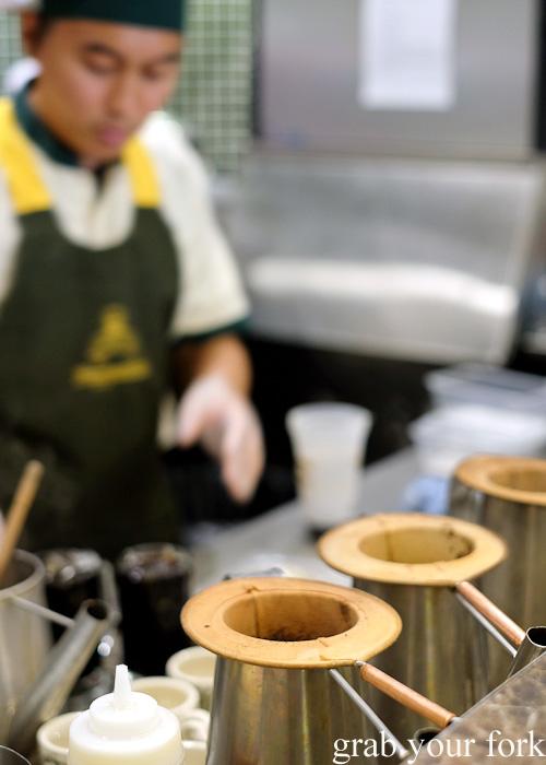 Malaysian coffee socks at Pappa Rich, Broadway