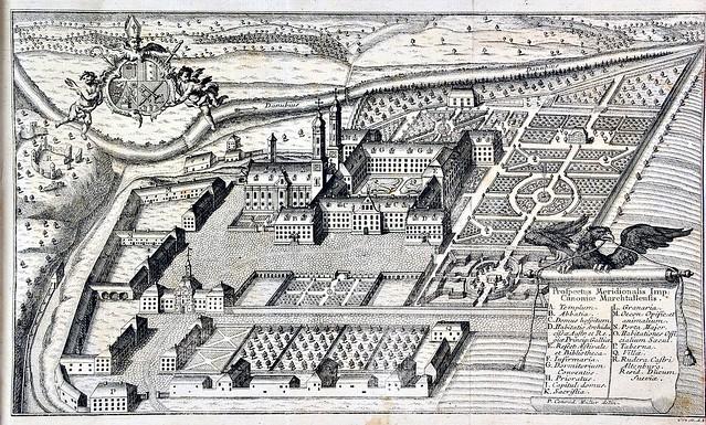 Anonymus - Ansicht des Klosters Obermarchtal, aus Sebastian Sailer Das jubilierende Marchtall, oder Lebensgeschichte des hochseligen Konrad Kneers. Obermarchtal 1771