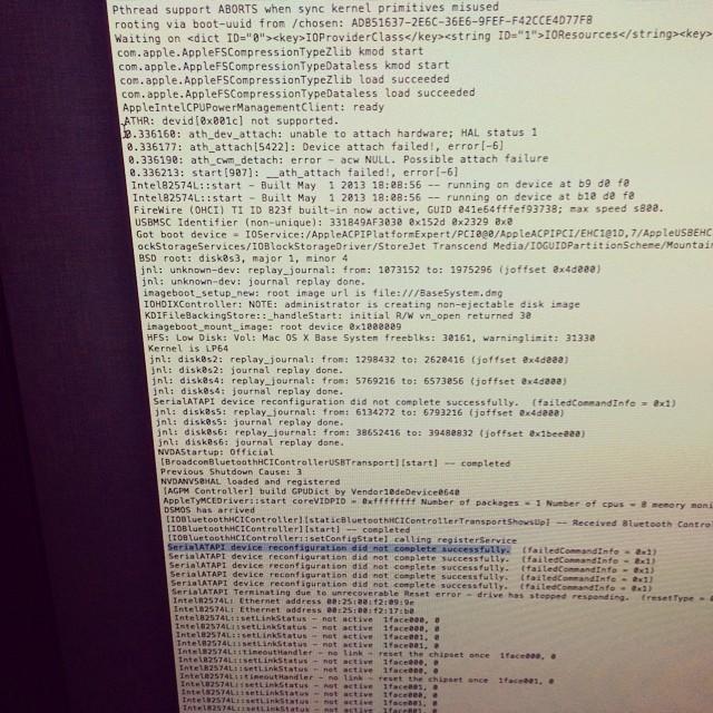 Boot log Mavericks - No internal SATA detected