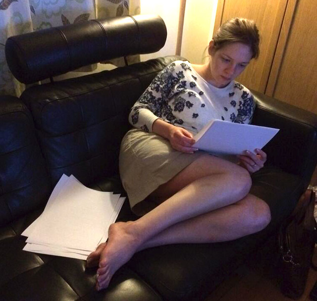 Lauren reading part of my manuscript