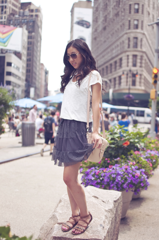 crochet top, lace dress, aviators, fashion, outfit of the day, personal style, guess sandals, nyc fashion, summer fashion