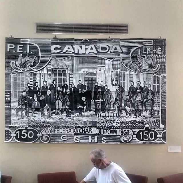 Fathers of Confederation, 2014, as painted by the Colonel Gray Senior High Art Students after the commemorative stamp #princeedwardisland #pei #charlottetown #fathersofconfederation #colonelgray #publicart #confederationcentreofthearts #