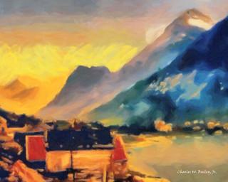 Digital Pastel Drawing of Olden, Norway by Charles W. Bailey, Jr.