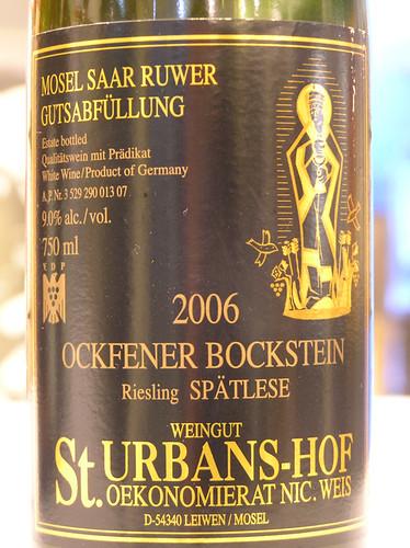 St. Urbans-hof 2006 Ockfener Bockstein Riesling Spatlese Mosel-Saar-Ruwar
