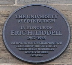 Photo of Eric Henry Liddell brown plaque