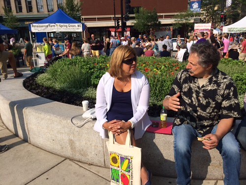 AMS Administrator Anne Alonzo visits with Madison, Wisconsin Mayor Paul Soglin at the Dane County Farmers Market.  Alonzo kicked off National Farmers Market Week, sharing USDA's commitment to strengthening local and regional food systems.