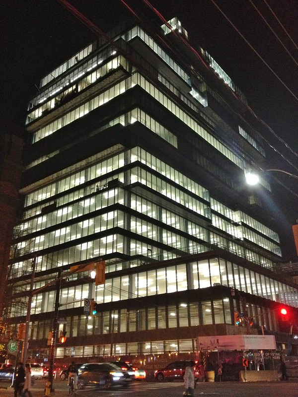 The Globe and Mail Centre, at the north east corner of Front Street East and Berkeley Street