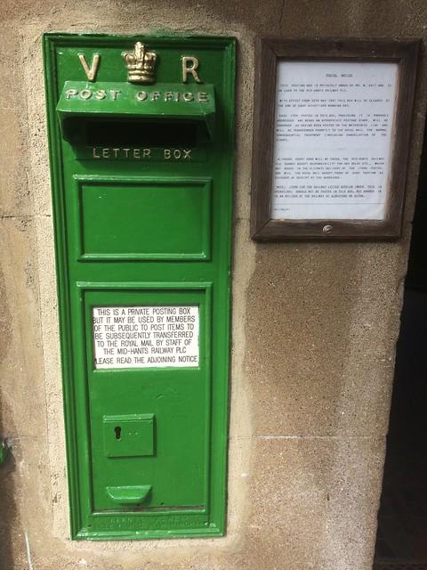 VR. Victoria Regina. Private letter box at Alresford Rail Station in Southern Railways green.
