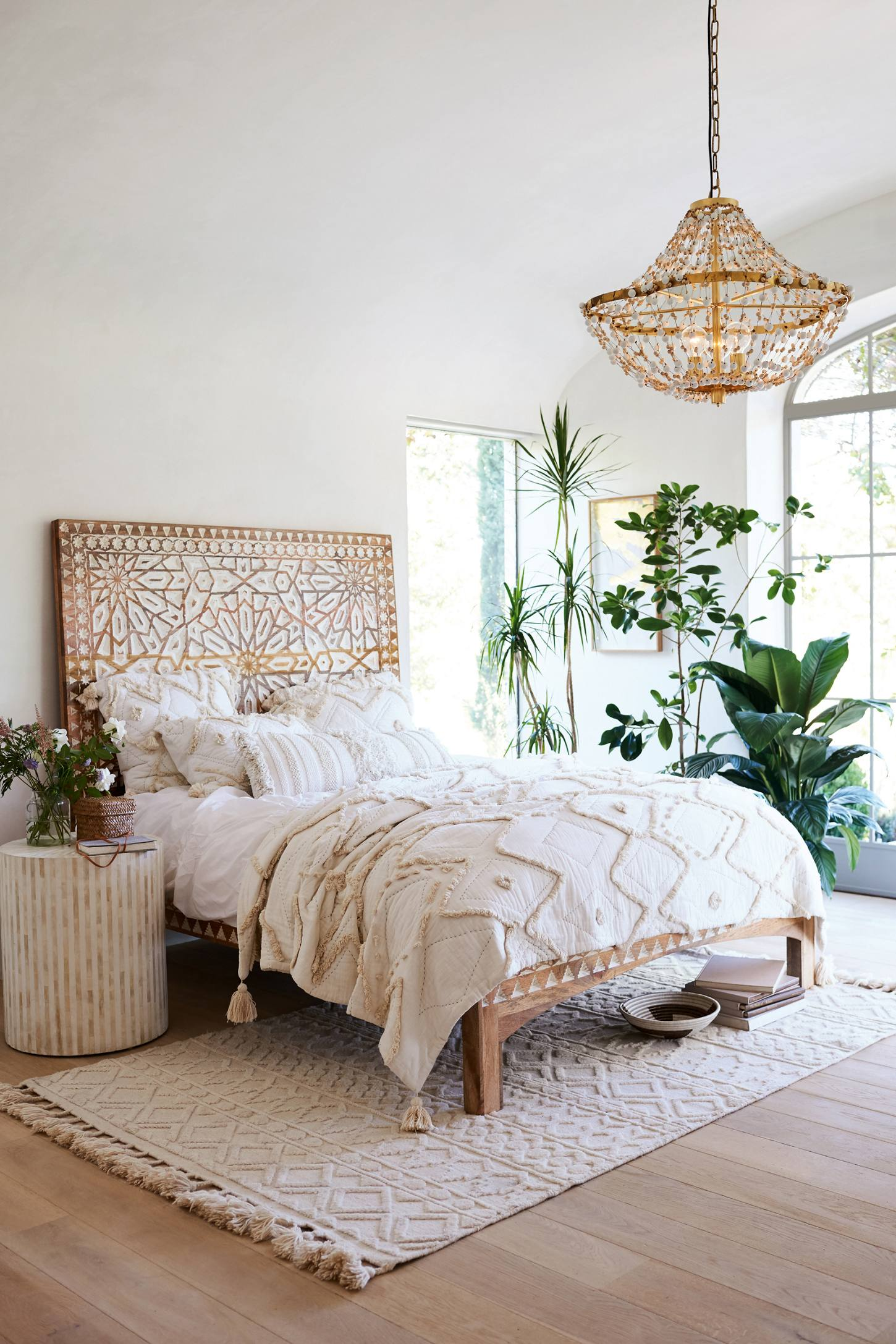 Bohemian Boho Bedroom Inspiration Cream Cozy Bedding Intricate Floral Headboard