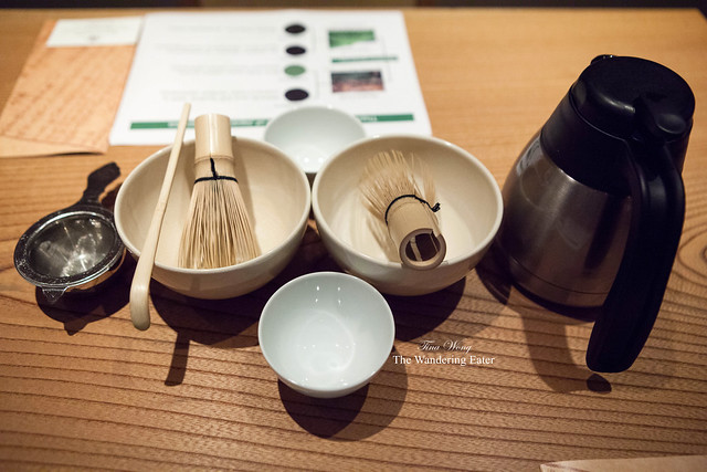 Matcha tea ceremony set up