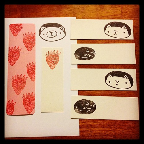 Hand-printed bookmarks debuting @a_little_bazaar's Thread & Groove this Saturday! #migrationgoods #threadandgroove #millno5 #lowell