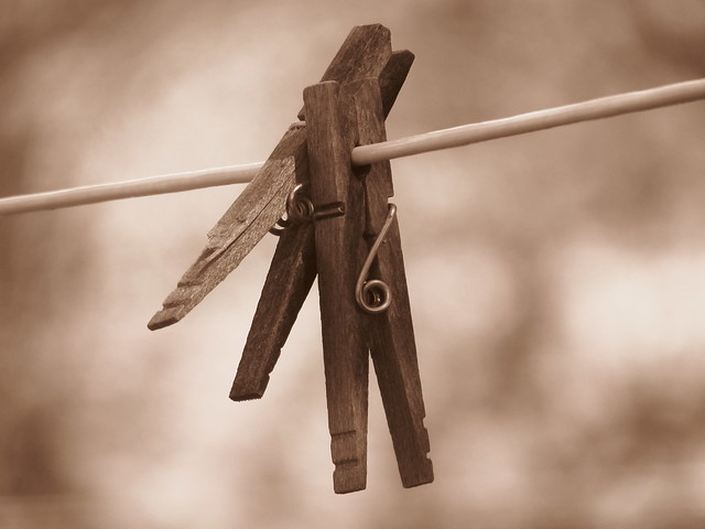 Clothespins on the line