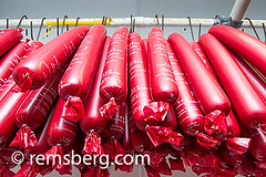 Tubes of baloney hanging from a pipe in Frostburg,…