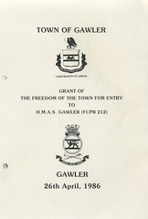 Freedom of the Town given to  HMAS Gawler 26April1986 (1)