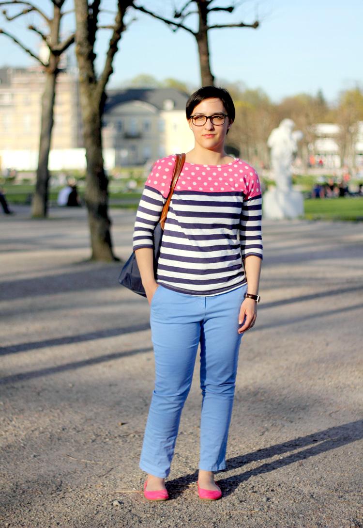 Streetstyle Stripes Dots Shirt Pink Flats Fabfashionaire By Rathana