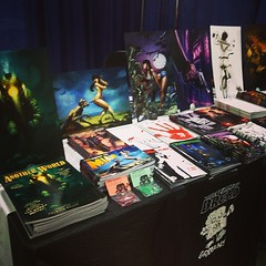 Table set up ready to go at #xcon FINALLY! Come down for some awesomeness! #myrtlebeach #comics