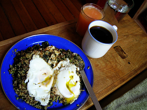 fried eggs on fried quinoa with korean ground beef and kale, coffee, grapefruit juice, and water