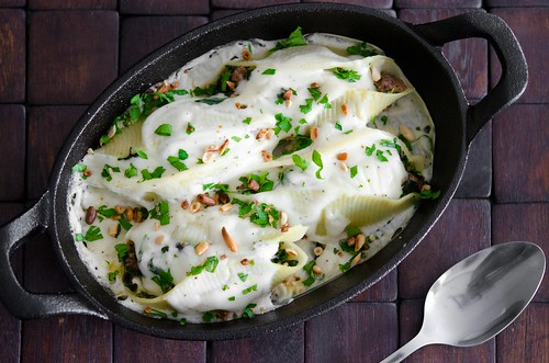 lamb and spinach stuffed shells with feta and pine nuts