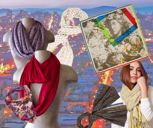 vintage and fair trade printed scarves, San Francisco city lights