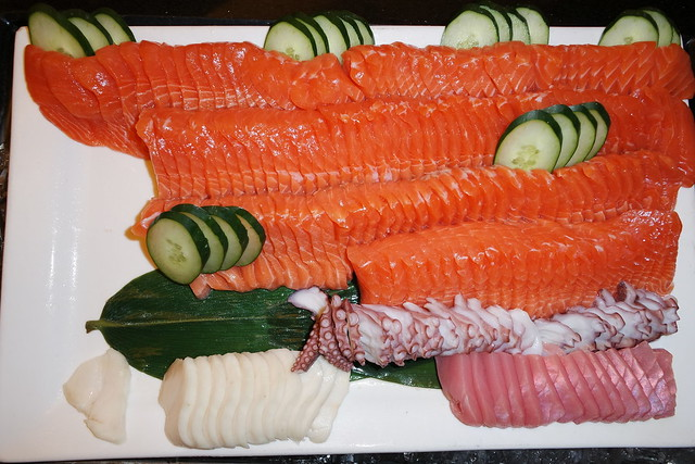 The sashimi tray was especially tempting and was super fresh