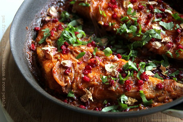 Pan Fried Fish with Harissa & Rose Petals 2