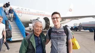 Getting off Air Koryo Plane at the Sunan International Airport in Pyongyang