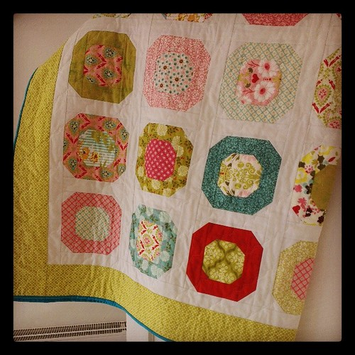 #dottiequilt is finished! Will wash it and then blog it. #quilting #quilt #sewing #handmade @cluckclucksew #finishit2014