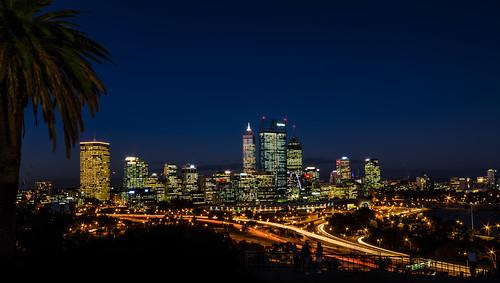 city longexposure silhouette night cityscape perth lighttrails westaustralia