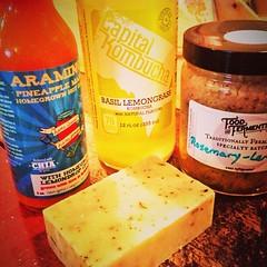Goodies! Shopping trip #eastpassyunk @VoltaOrganics cilantro soap, pineapple mango hot sauce, basil lemongrass soda, rosemary sauerkraut #noiwonteatthesoap #visitphilly #organic this soda is life changing