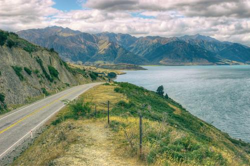road newzealand mountains view southisland otago nik hdr theneck lakehawea photomatix jeffparkes opticalbits analogefex