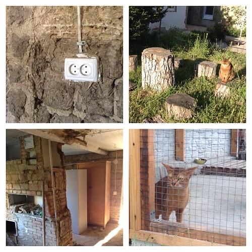 Саманные кирпичи в стенке летнего домика и прочий ремонт)) #старыйкрым