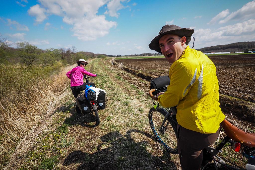Farm-road touring near Abira, Hokkaido, Japan