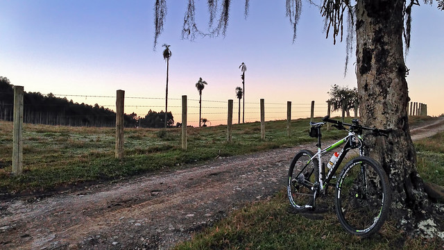 Subida Serra Kraemer  cedinho, com uma geada! Bike ride uphill at winter sunrise!