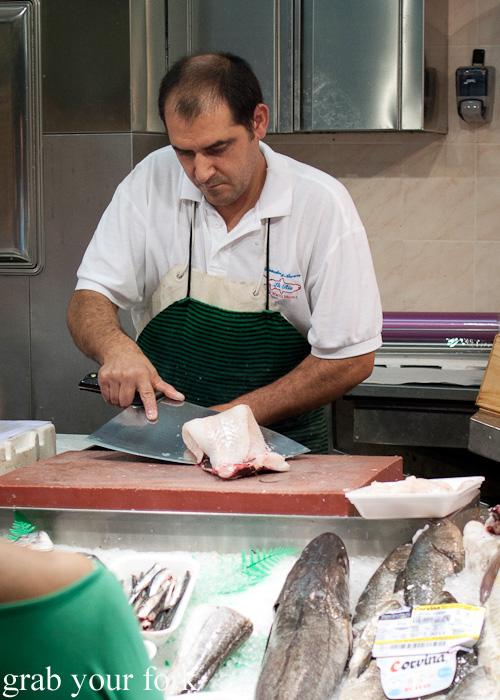 Spanish curved machete knife used by a fishmonger in Mercado de la Cebada in Madrid, Spain