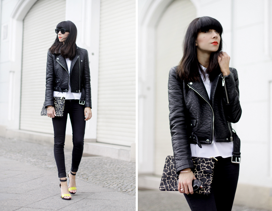 Black and White clear clean French Frenchie outfit OOTD styling leather biker animal clutch Sacha x Fashionchick summer heels fashionblogger Berlin German blogger Ricarda Schernus 7