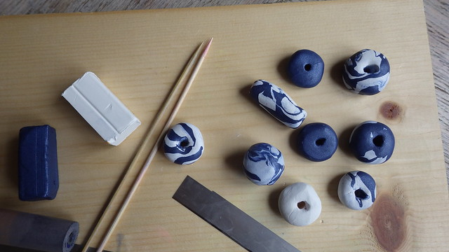 shibori inspired clay beads