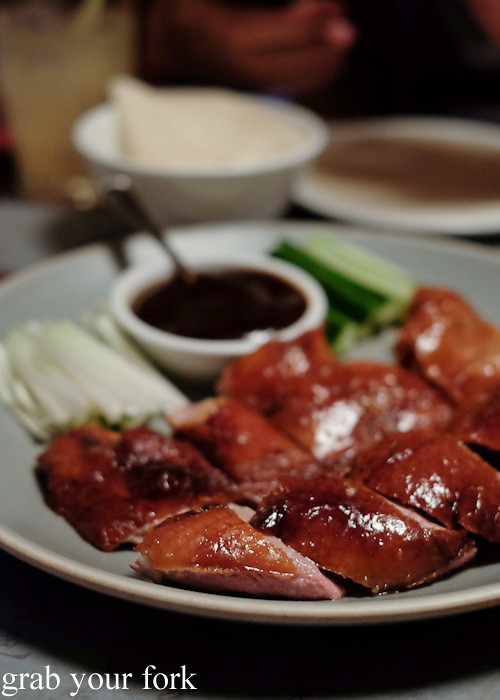 Peking duck pancakes at Mr Wong, Sydney