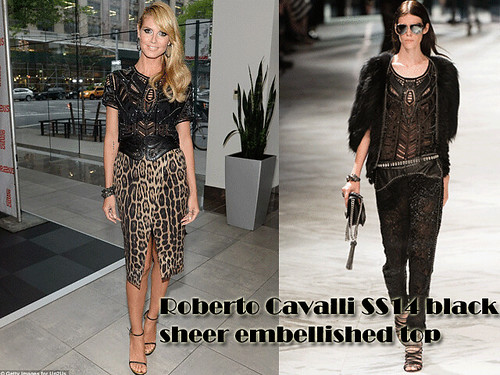 Heidi Klum in  Leopard Print wrap skirt & a Roberto Cavalli SS14 black sheer embellished top
