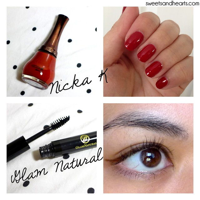 Beauty Box 5: Nicka K nail color in red and Glam Natural mascara swatches